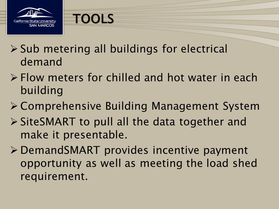  Sub metering all buildings for electrical demand  Flow meters for chilled and hot water in each building  Comprehensive Building Management System  SiteSMART to pull all the data together and make it presentable.
