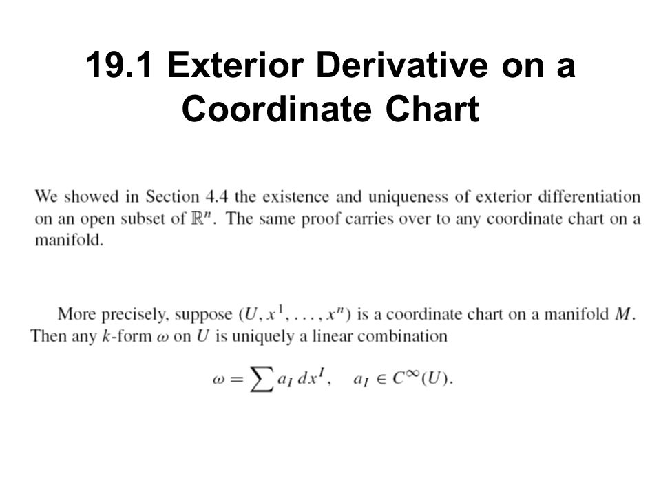 Attractive 4 19.1 Exterior Derivative On A Coordinate Chart