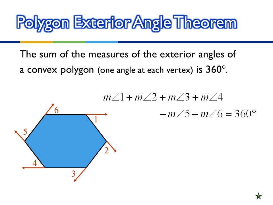 The Sum Of The Measures Of The Exterior Angles Of A Convex Polygon (one  Angle