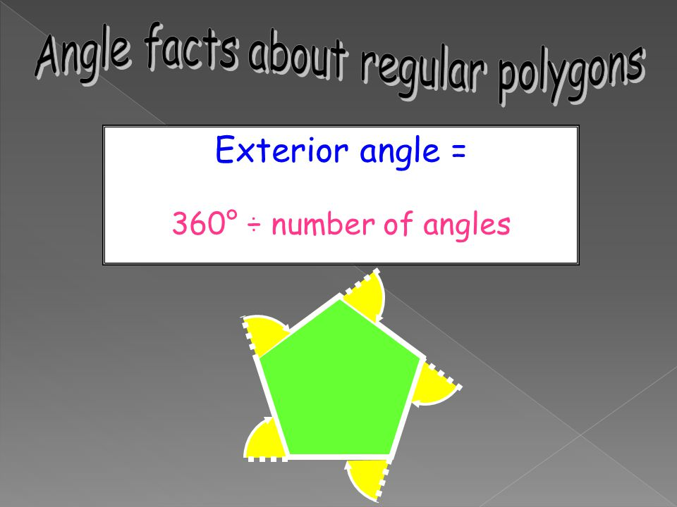 Exterior angle = 360° ÷ number of angles
