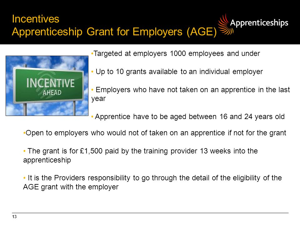 13 Incentives Apprenticeship Grant for Employers (AGE) Targeted at employers 1000 employees and under Up to 10 grants available to an individual employer Employers who have not taken on an apprentice in the last year Apprentice have to be aged between 16 and 24 years old Open to employers who would not of taken on an apprentice if not for the grant The grant is for £1,500 paid by the training provider 13 weeks into the apprenticeship It is the Providers responsibility to go through the detail of the eligibility of the AGE grant with the employer