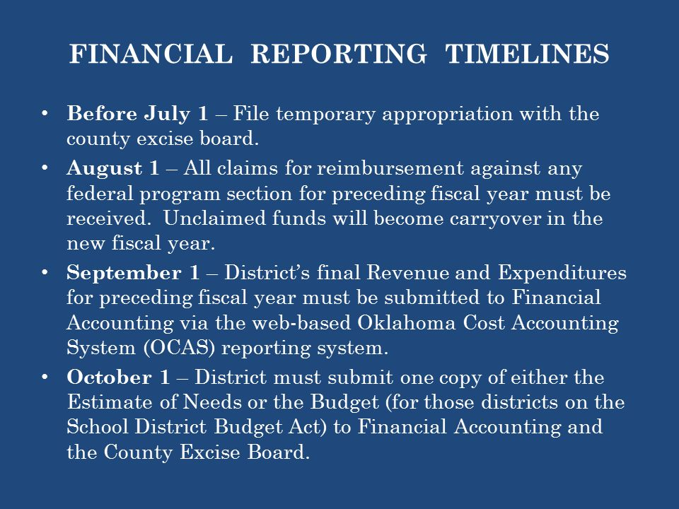 FINANCIAL REPORTING TIMELINES Before July 1 – File temporary appropriation with the county excise board.
