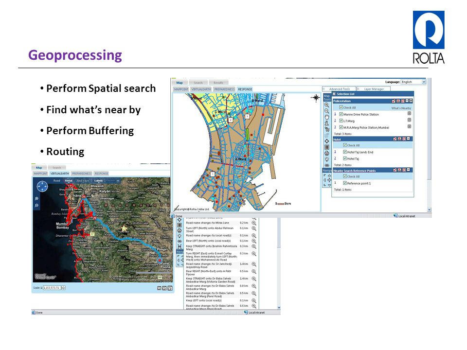 Geoprocessing Perform Spatial search Find what's near by Perform Buffering Routing