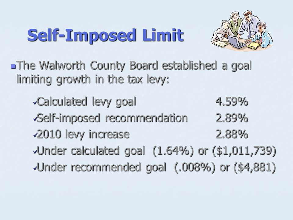 Self-Imposed Limit The Walworth County Board established a goal limiting growth in the tax levy: The Walworth County Board established a goal limiting growth in the tax levy: Calculated levy goal4.59% Calculated levy goal4.59% Self-imposed recommendation2.89% Self-imposed recommendation2.89% 2010 levy increase2.88% 2010 levy increase2.88% Under calculated goal (1.64%) or ($1,011,739) Under calculated goal (1.64%) or ($1,011,739) Under recommended goal (.008%) or ($4,881) Under recommended goal (.008%) or ($4,881)