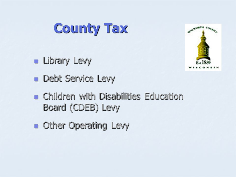 County Tax Library Levy Library Levy Debt Service Levy Debt Service Levy Children with Disabilities Education Board (CDEB) Levy Children with Disabilities Education Board (CDEB) Levy Other Operating Levy Other Operating Levy