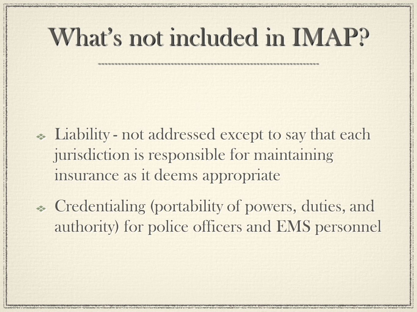 What's not included in IMAP.
