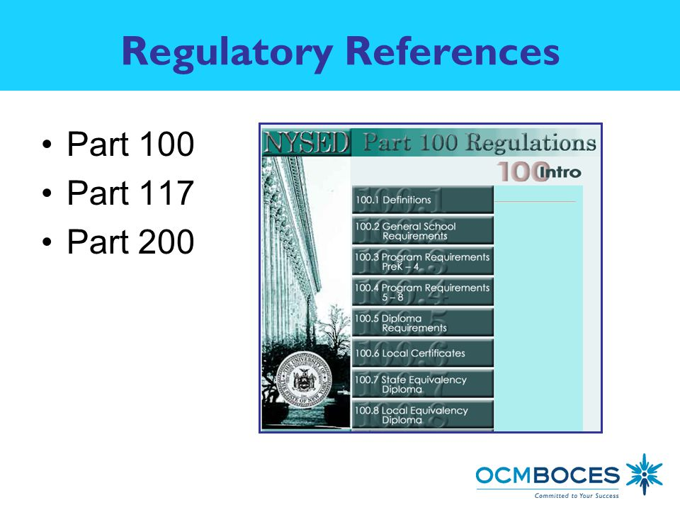 Regulatory References Part 100 Part 117 Part 200