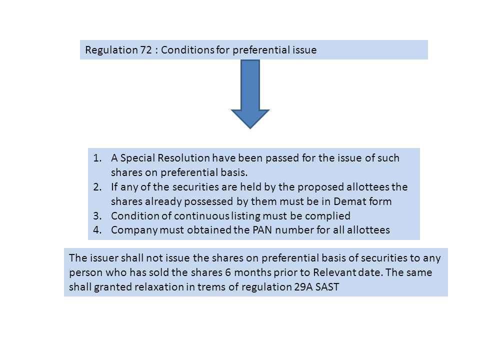 Regulation 71 : Relevant Date Relevant date for issue of equity shares on the preferential basis: 30days prior to the date on which the meeting of shareholders is held for considering the issue of such shares on the preferential issue Relevant date for the issue of convertible securities: 30 days prior to the date on which such security will be converted into Equity shares