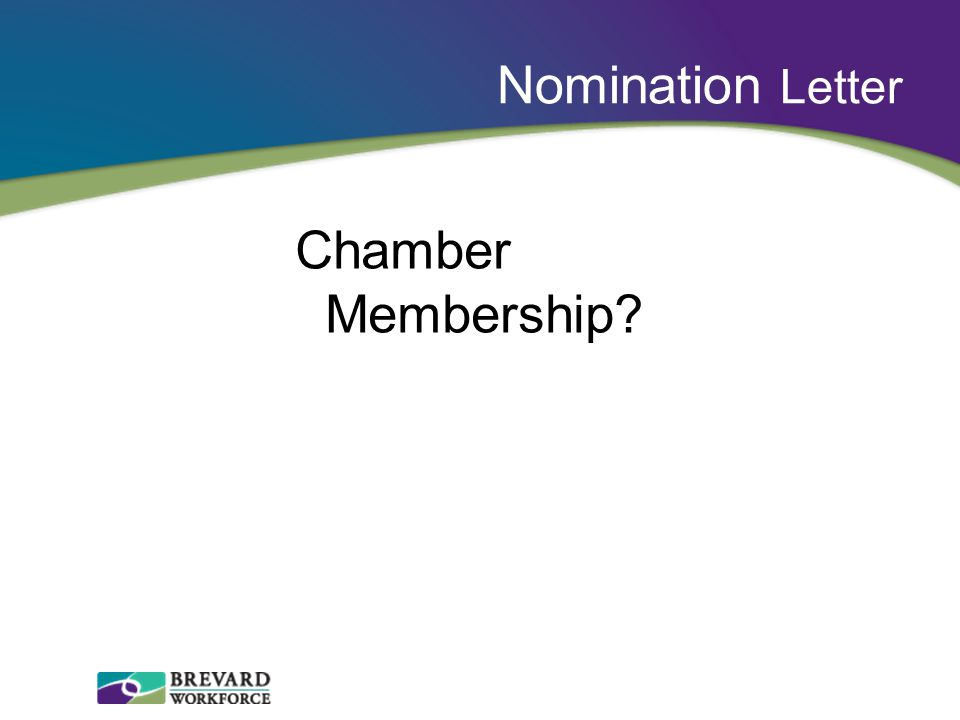 Nomination Letter Chamber Membership