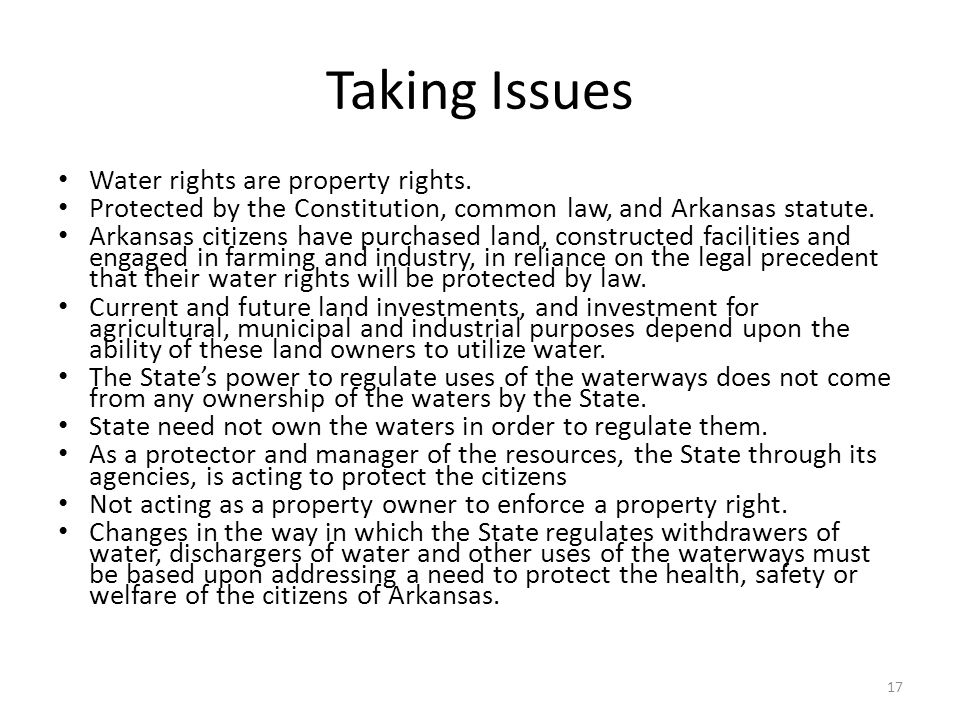 Taking Issues Water rights are property rights.