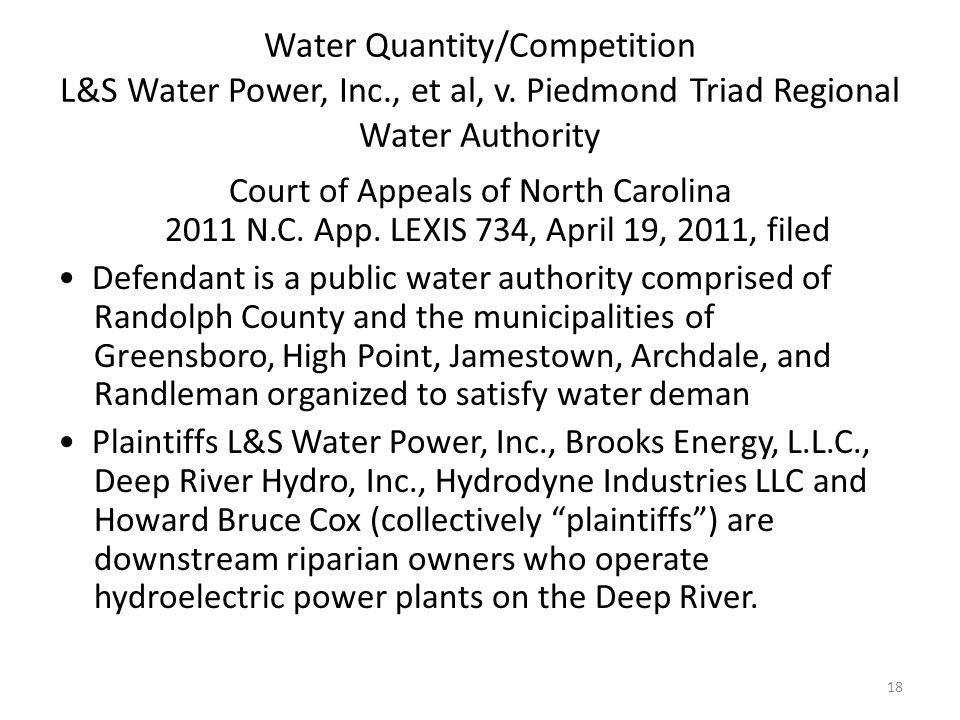Water Quantity/Competition L&S Water Power, Inc., et al, v.