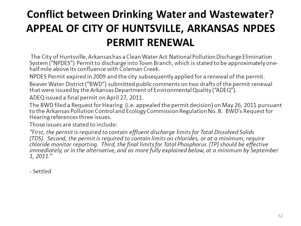 Conflict between Drinking Water and Wastewater.