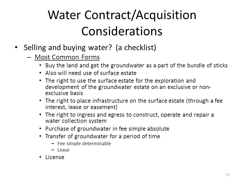 Water Contract/Acquisition Considerations Selling and buying water.