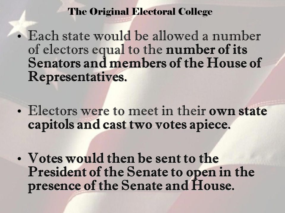 the origin of electoral college essay Electoral college political debate we must first go back in time to the origin of this johnny iacobucci electoral college essay civics the electoral.