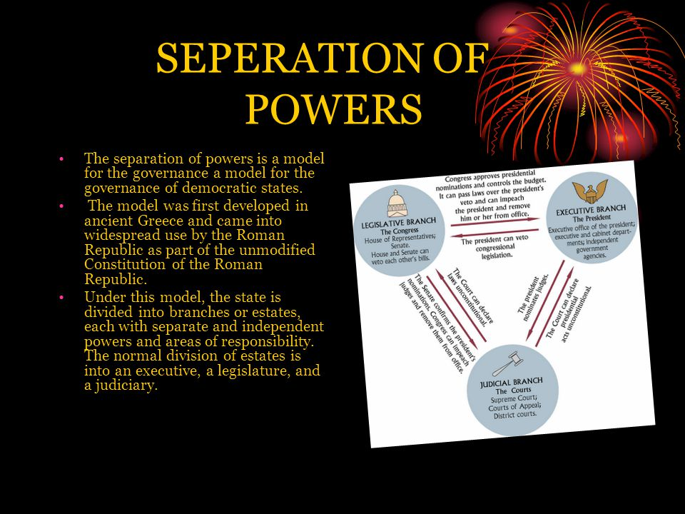 SEPERATION OF POWERS The separation of powers is a model for the governance a model for the governance of democratic states.