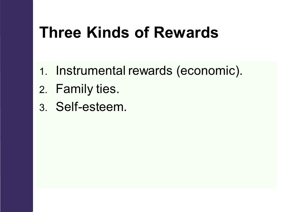 Three Kinds of Rewards 1. Instrumental rewards (economic). 2. Family ties. 3. Self-esteem.