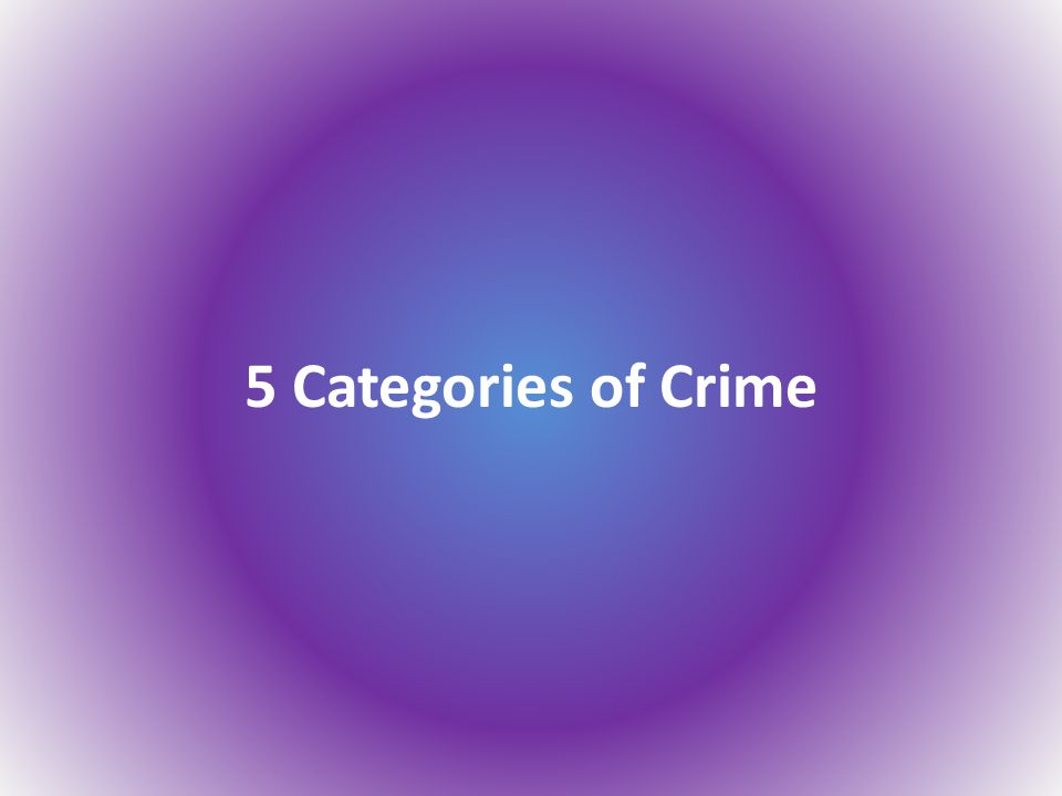 5 Categories of Crime