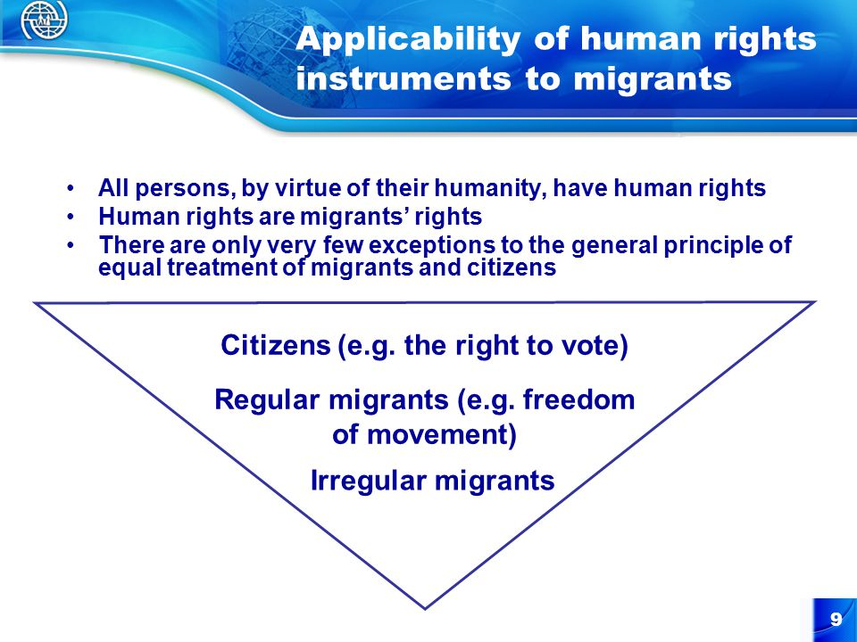 9 Applicability of human rights instruments to migrants All persons, by virtue of their humanity, have human rights Human rights are migrants' rights There are only very few exceptions to the general principle of equal treatment of migrants and citizens Citizens (e.g.