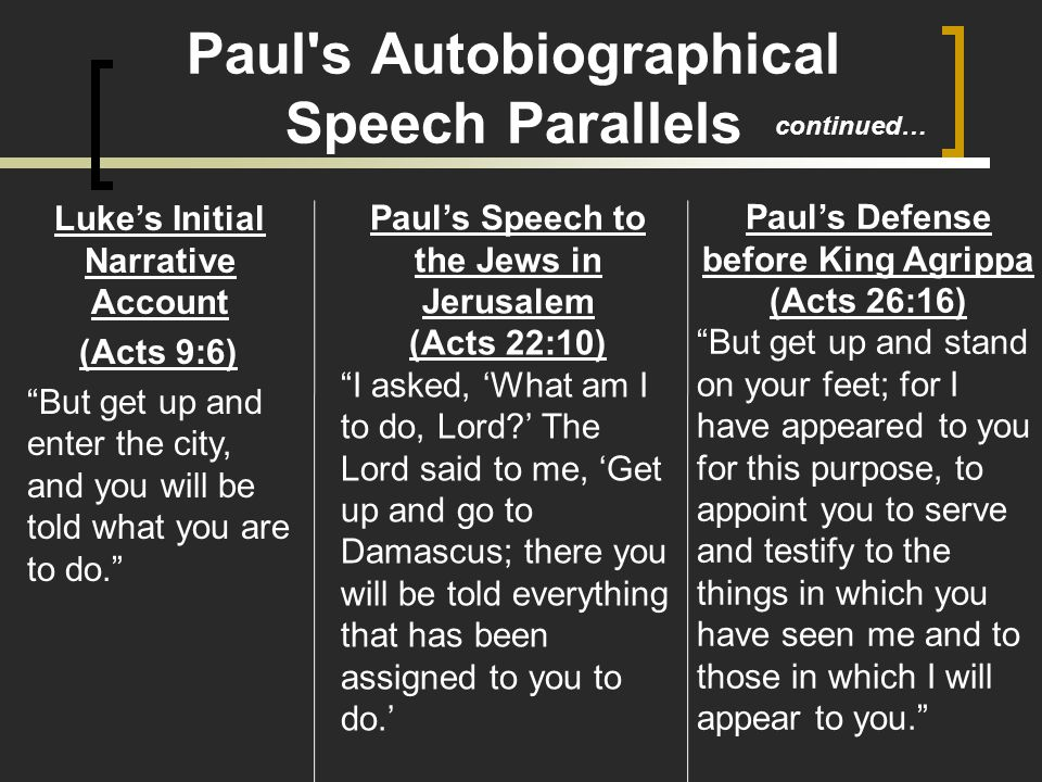 Paul's Speech to the Jews in Jerusalem (Acts 22:10) I asked, 'What am I to do, Lord ' The Lord said to me, 'Get up and go to Damascus; there you will be told everything that has been assigned to you to do.' Paul s Autobiographical Speech Parallels Luke's Initial Narrative Account (Acts 9:6) But get up and enter the city, and you will be told what you are to do. Paul's Defense before King Agrippa (Acts 26:16) But get up and stand on your feet; for I have appeared to you for this purpose, to appoint you to serve and testify to the things in which you have seen me and to those in which I will appear to you. continued…