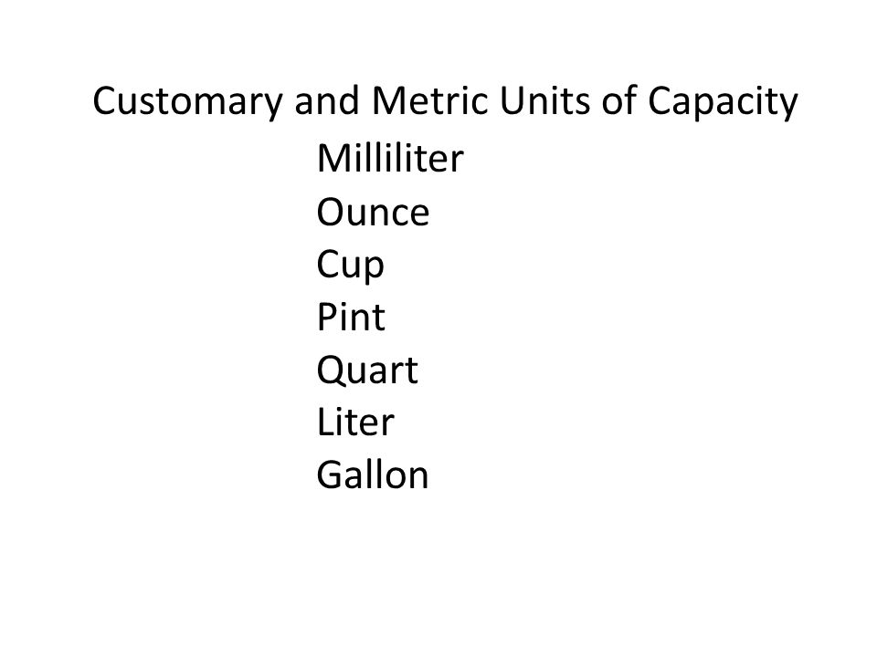 Customary and Metric Units of Capacity Milliliter Ounce Cup Pint Quart Liter Gallon