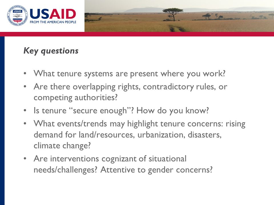 Key questions What tenure systems are present where you work.