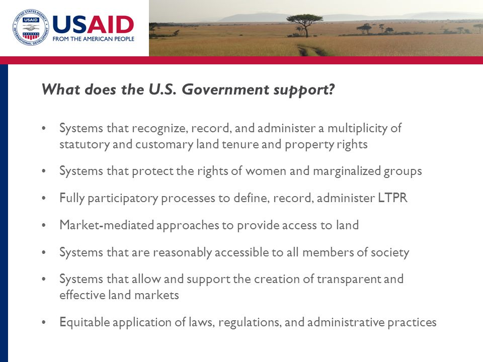 What does the U.S. Government support.