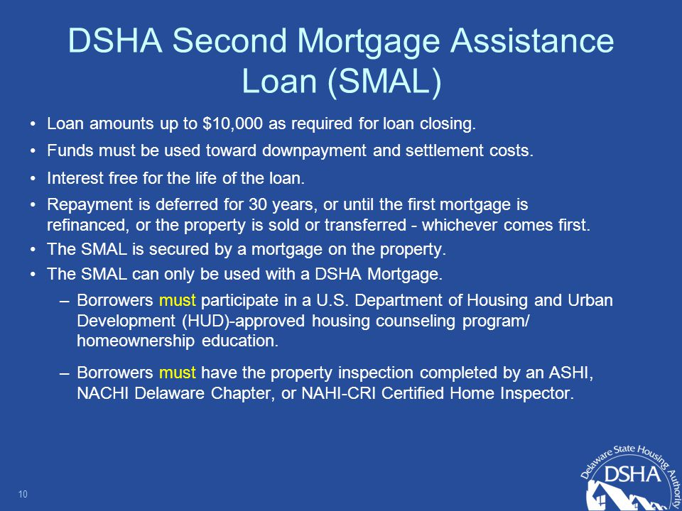 DSHA Second Mortgage Assistance Loan (SMAL) Loan amounts up to $10,000 as required for loan closing.