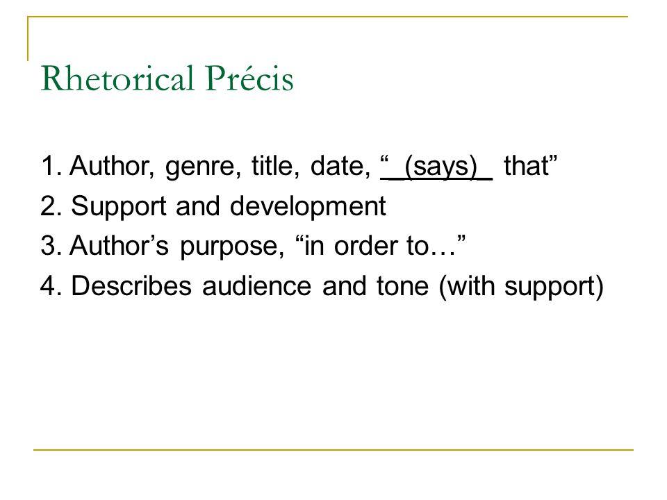 FUN WITH THE Rhetorical Pr cis Rhetorical Pr cis A four – Rhetorical Precis Template