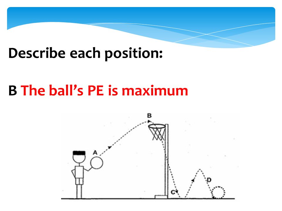 Describe each position: B The ball's PE is maximum