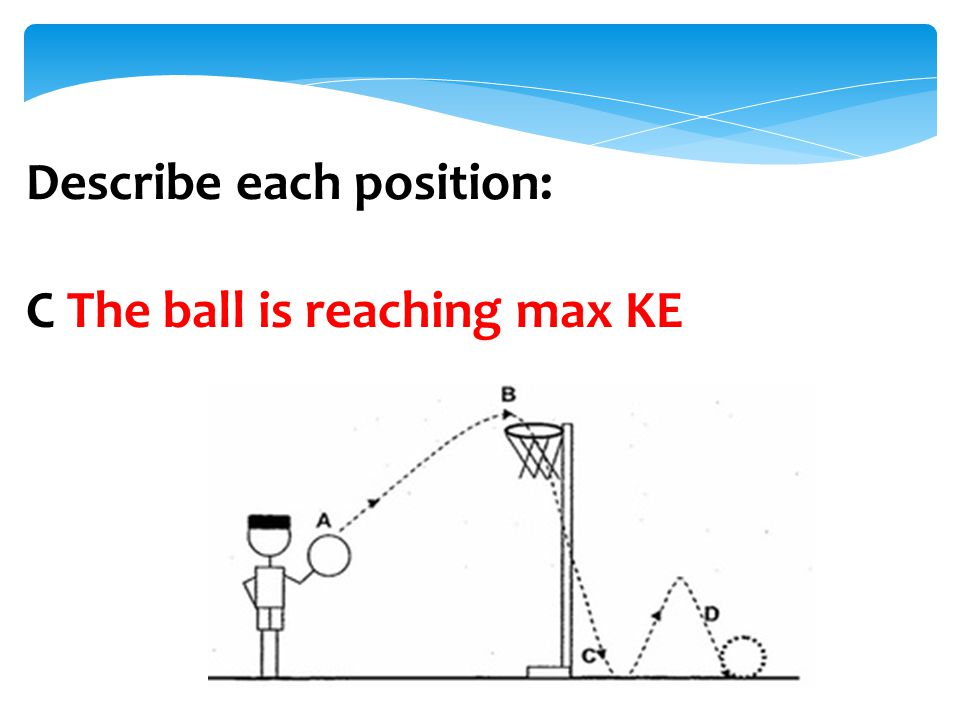 Describe each position: C The ball is reaching max KE
