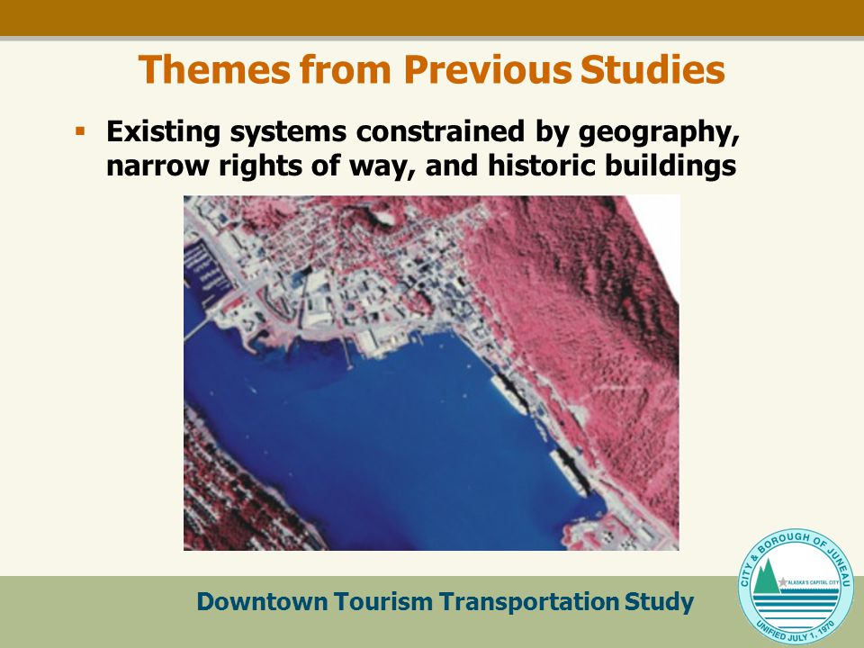 Downtown Tourism Transportation Study Themes from Previous Studies  Existing systems constrained by geography, narrow rights of way, and historic buildings