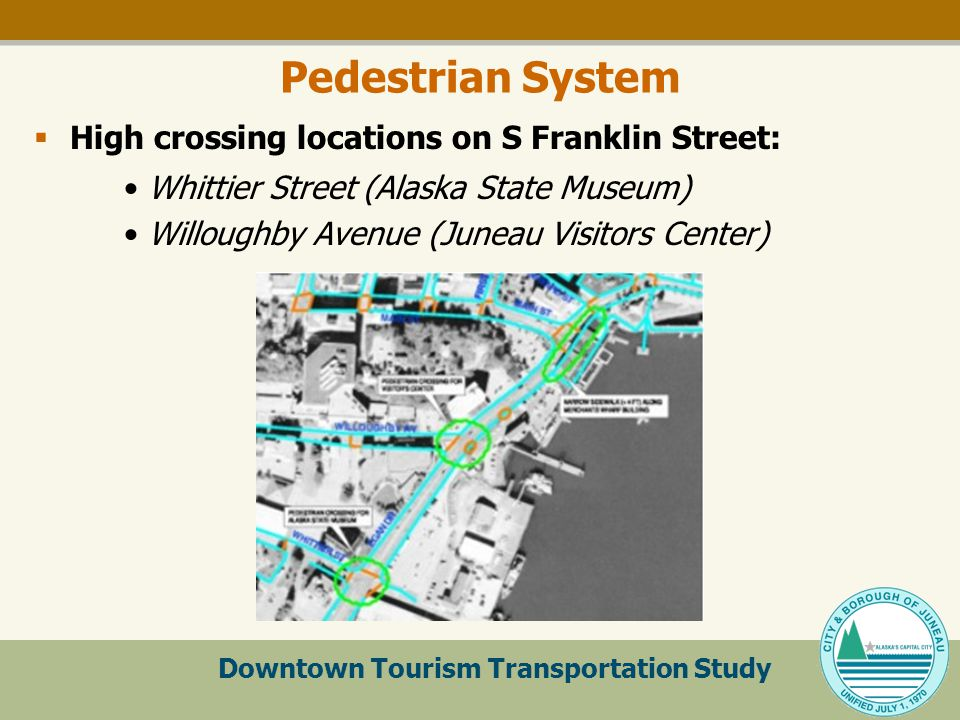 Downtown Tourism Transportation Study Pedestrian System  High crossing locations on S Franklin Street: Whittier Street (Alaska State Museum) Willoughby Avenue (Juneau Visitors Center)