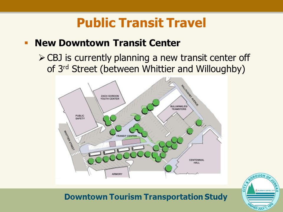 Downtown Tourism Transportation Study Public Transit Travel  New Downtown Transit Center  CBJ is currently planning a new transit center off of 3 rd Street (between Whittier and Willoughby)