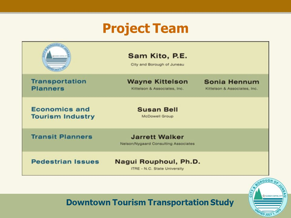 Downtown Tourism Transportation Study Project Team