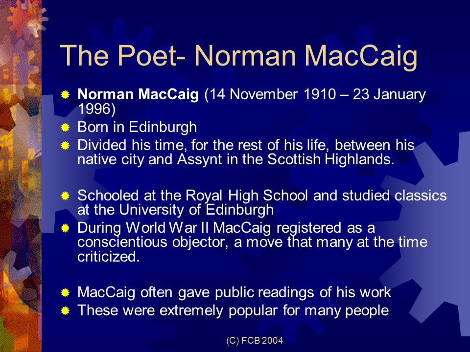 norman maccaig assisi essay A scheme of work to help with analysis and understanding of assisi by norman maccaig.