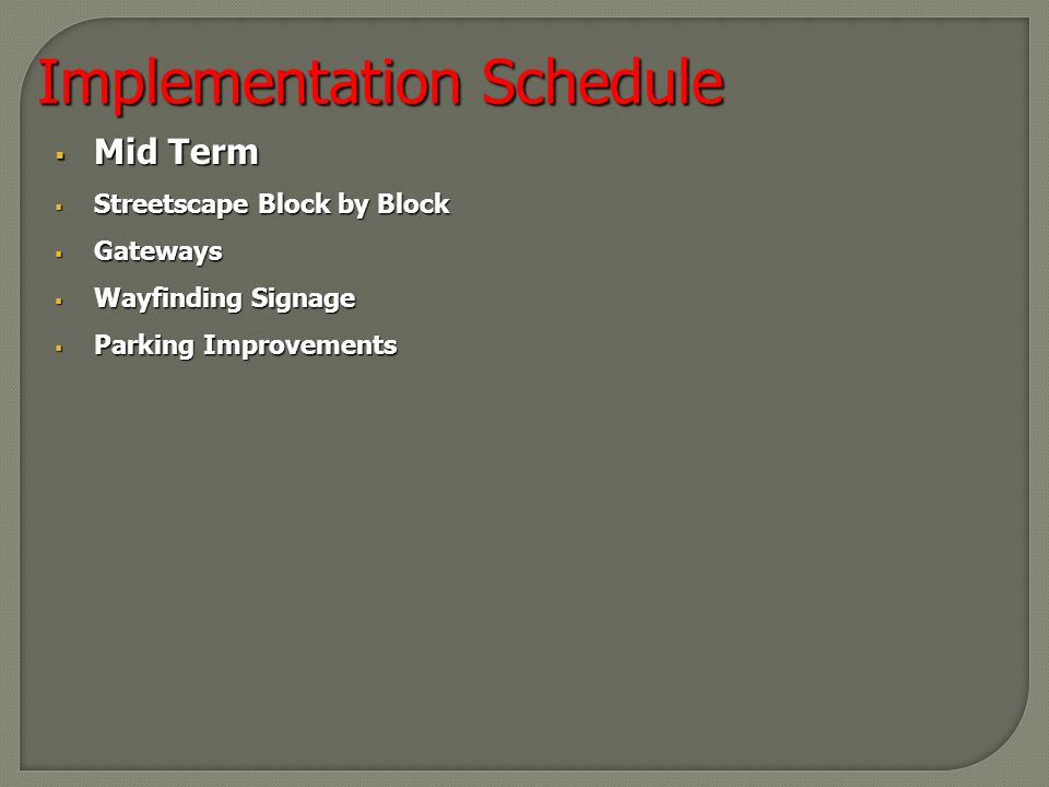  Mid Term  Streetscape Block by Block  Gateways  Wayfinding Signage  Parking Improvements Implementation Schedule