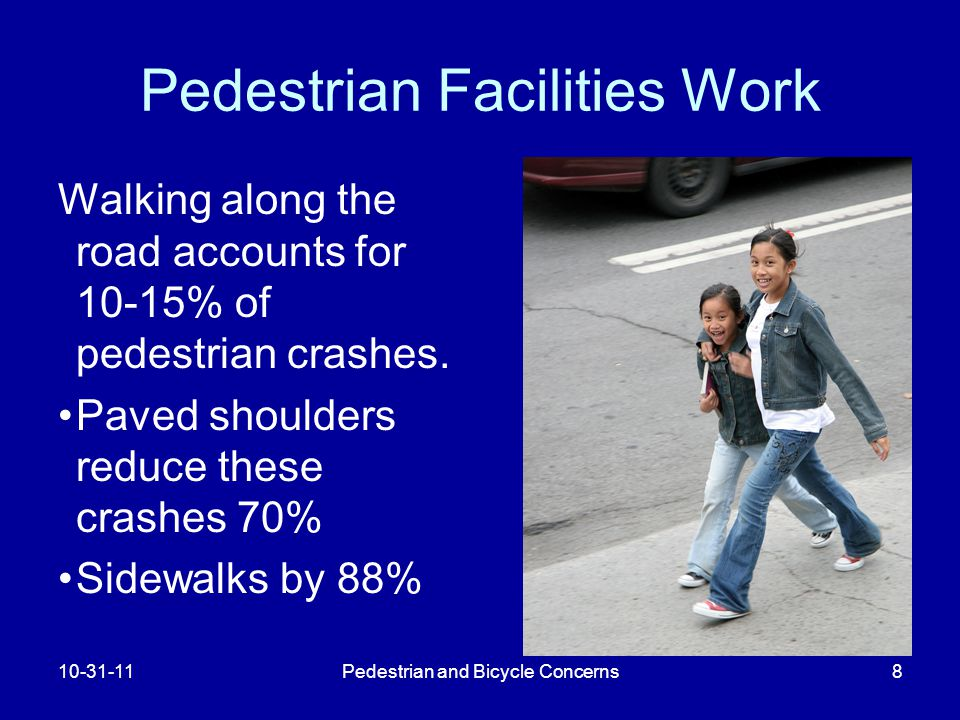 Pedestrian and Bicycle Concerns8 Pedestrian Facilities Work Walking along the road accounts for 10-15% of pedestrian crashes.