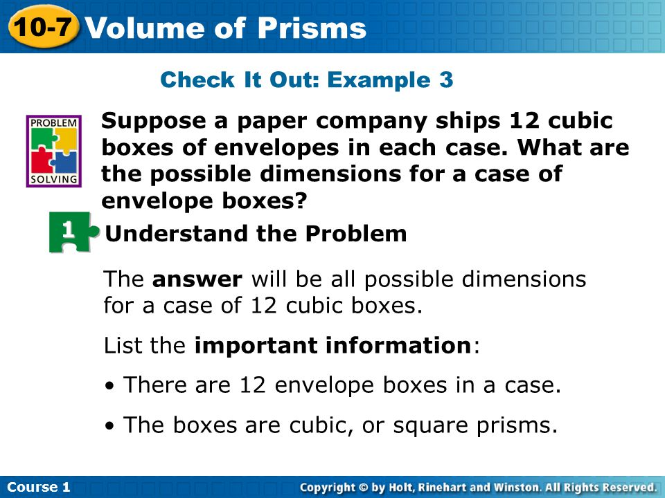 Check It Out: Example 3 Suppose a paper company ships 12 cubic boxes of envelopes in each case.