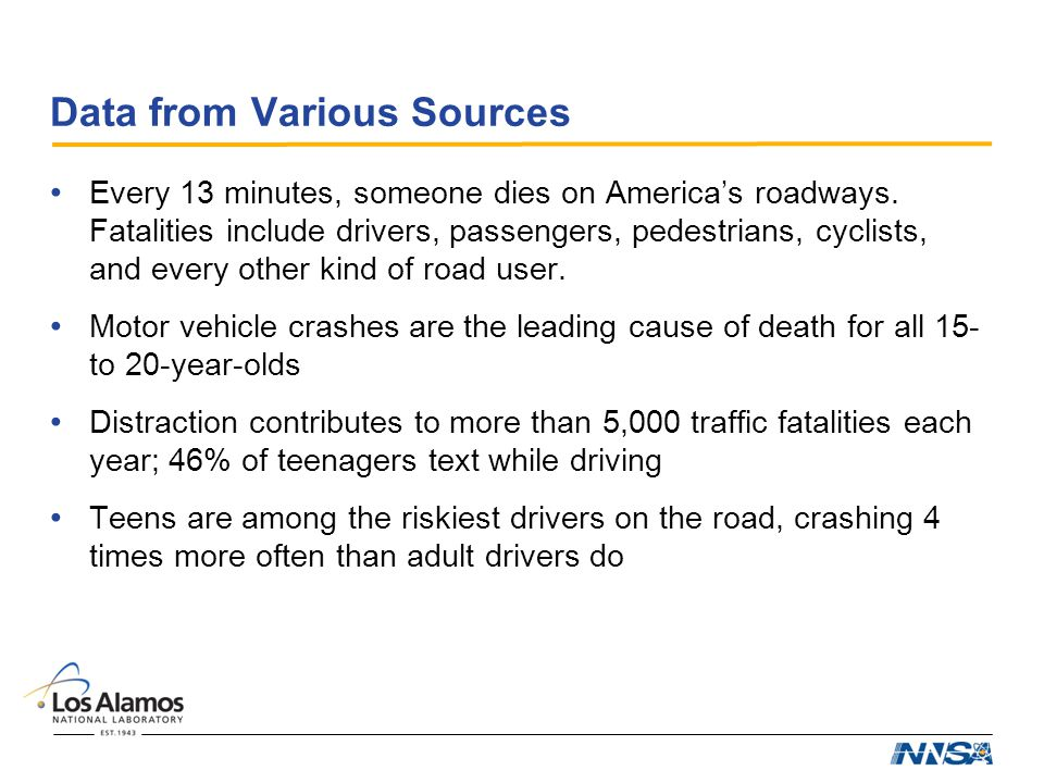 Data from Various Sources Every 13 minutes, someone dies on America's roadways.