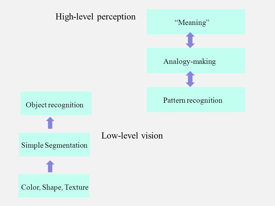 Color, Shape, Texture Simple Segmentation Low-level vision Object recognition High-level perception Pattern recognition Meaning Analogy-making