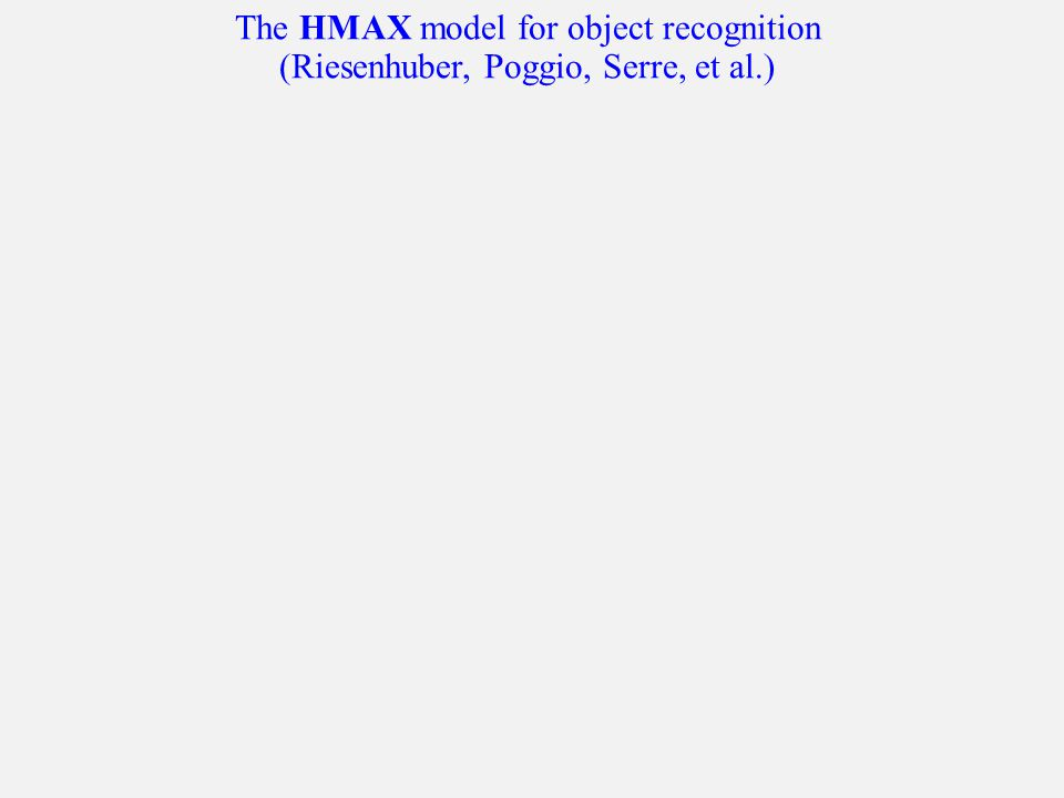 The HMAX model for object recognition (Riesenhuber, Poggio, Serre, et al.)