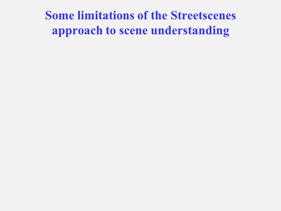 Some limitations of the Streetscenes approach to scene understanding