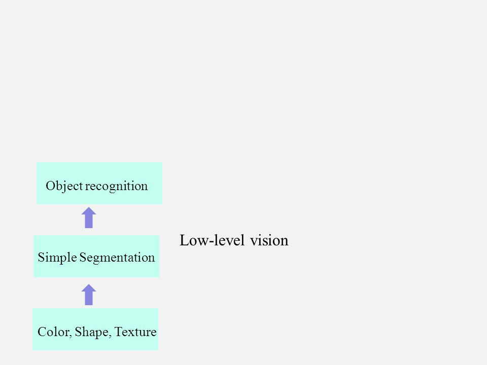 Color, Shape, Texture Simple Segmentation Low-level vision Object recognition
