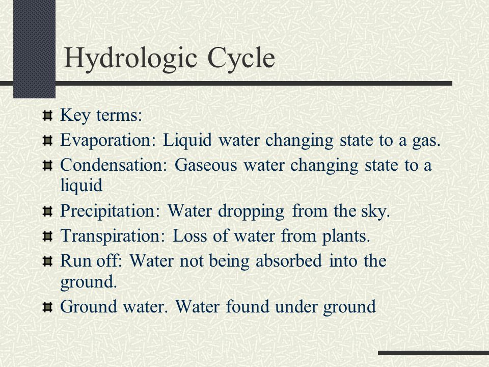 Hydrologic Cycle Key terms: Evaporation: Liquid water changing state to a gas.
