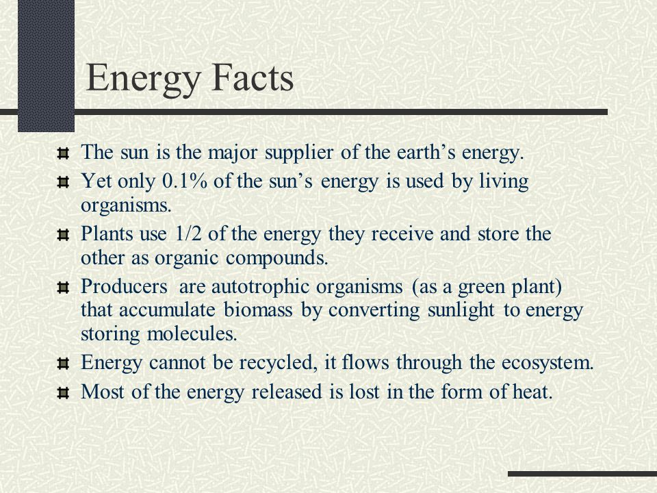 Energy Facts The sun is the major supplier of the earth's energy.