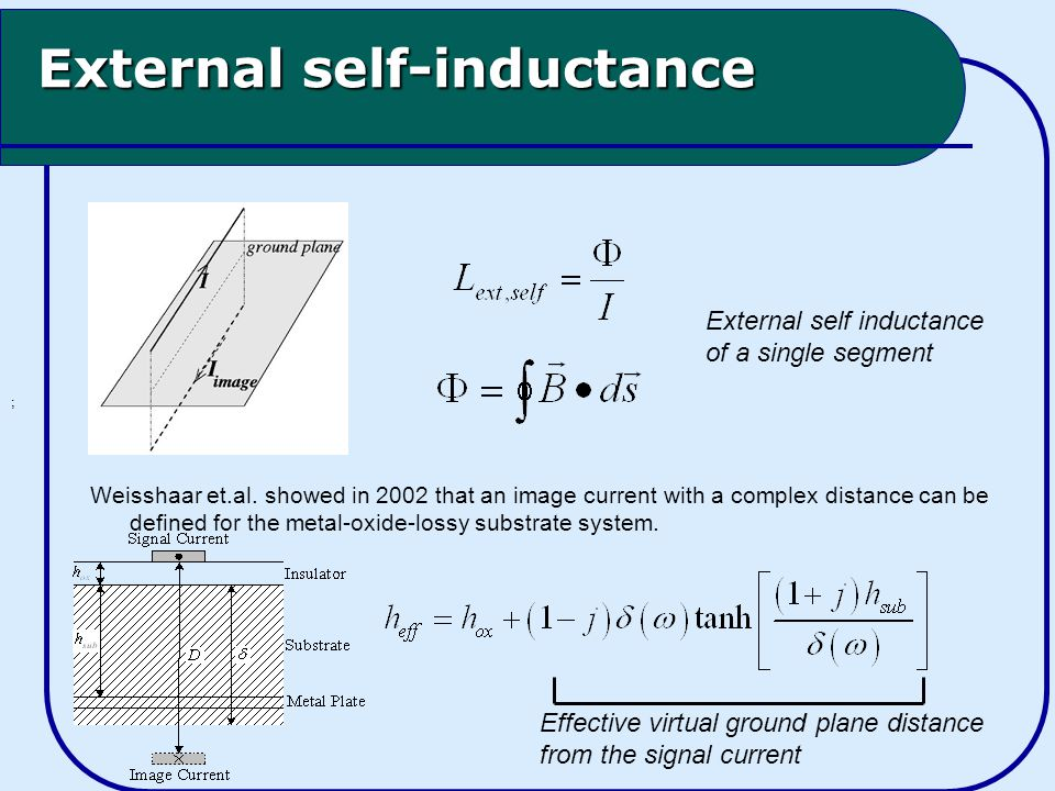 External self-inductance ; Weisshaar et.al.