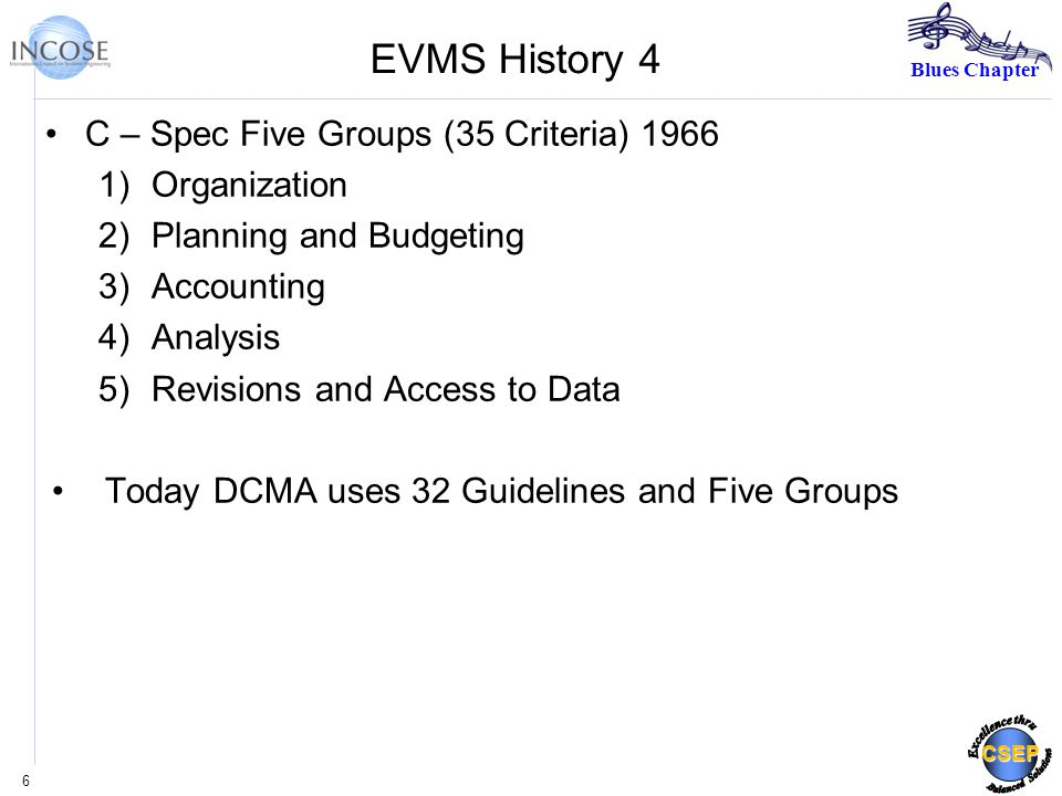 Blues Chapter CSEP EVMS History 4 C – Spec Five Groups (35 Criteria) )Organization 2)Planning and Budgeting 3)Accounting 4)Analysis 5)Revisions and Access to Data Today DCMA uses 32 Guidelines and Five Groups 6