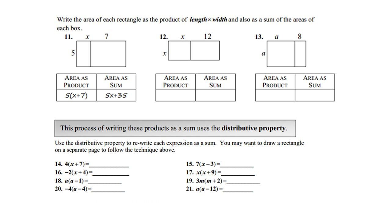 9/22 thru 9/26 Monday – Distributive Property – Slides 2 AND 3 ...