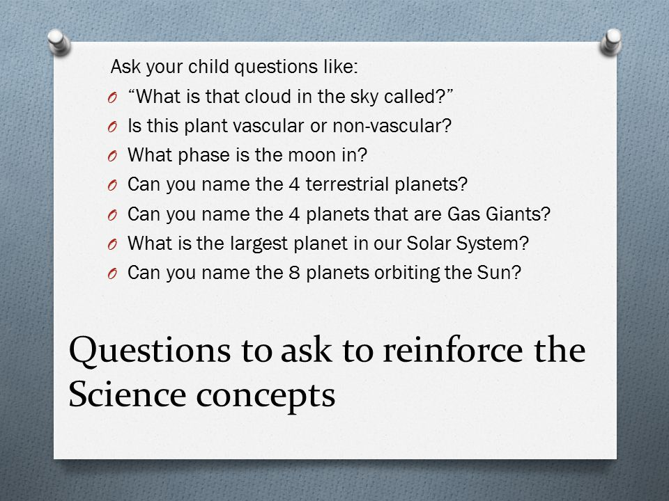 Questions to ask to reinforce the Science concepts Ask your child questions like: O What is that cloud in the sky called O Is this plant vascular or non-vascular.