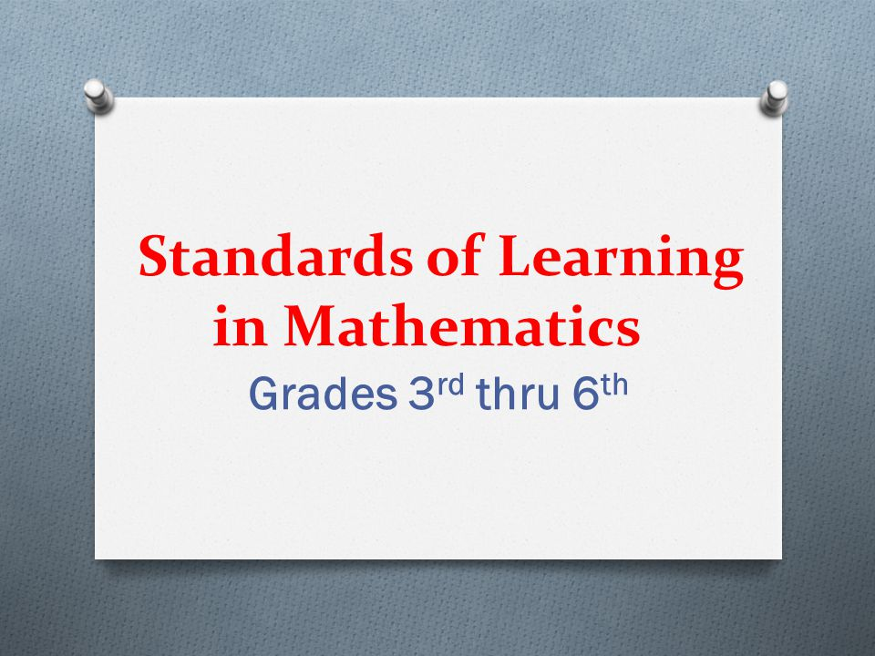 Standards of Learning in Mathematics Grades 3 rd thru 6 th